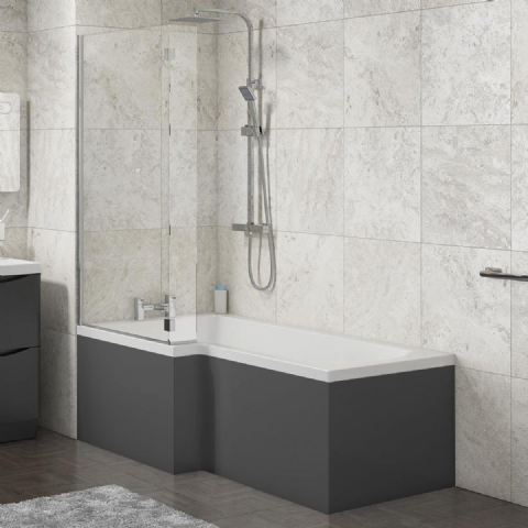 L Shape Shower Bath Panels High Gloss Anthracite